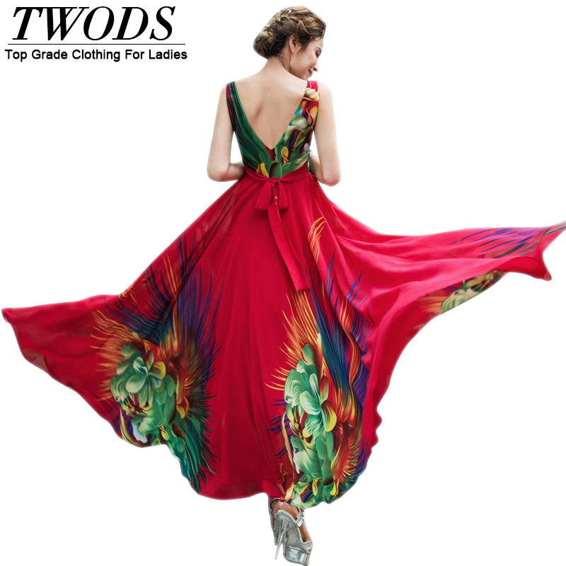 Twods Big Flowers Print Sexy Backless Women Summer Dress V-neck Sleeveless Slim Waist Maxi Long Boho Beach Dresses Plus Size 4XL
