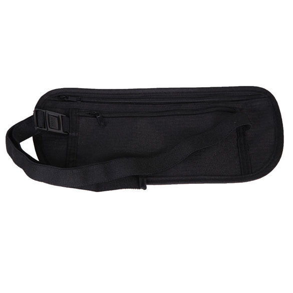 Breathable Mesh Cotton Cloth Close Fitting Security Pocket Money Waist Belt Pouch Bag for Outdoor Sport