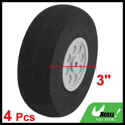 75mm Wheel Diameter Hole 4 mm RC Model Plane Aircraft Foam Wheel Replacement Black Gray 4 Pcs/lot Discount 50(China (Mainland))