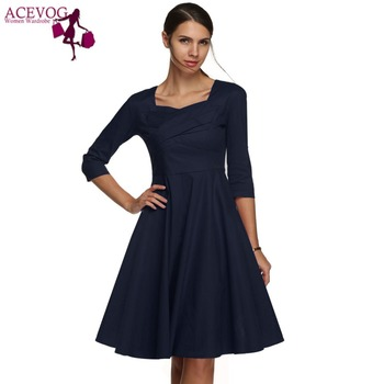 ACEVOG Dresses Women Casual Midi Long Autumn Summer Plus Size Ladies Dress Vestidos Polka Dot S-XXXL Vintage Female Dresses