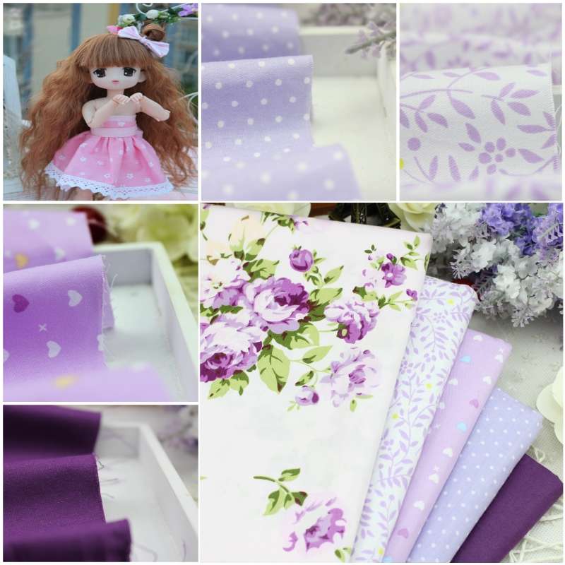 5 pcs Purple 100% Cotton Fabric DIY Sewing Patchwork kids Bedding Bags Tilda Doll Love Baby Cloth home Textiles Fabric 40*50cm(China (Mainland))
