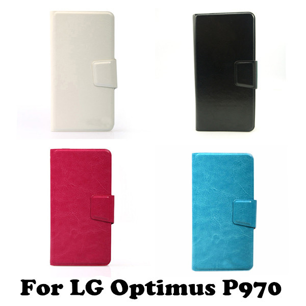 Business Patten PU Leather Universal Wallet Flip Stand Cover Phone Case for LG Optimus P970(China (Mainland))