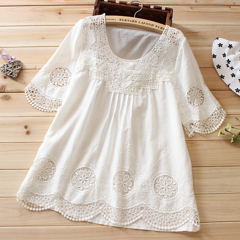 women embroidery white blouse boho tops summer lace shirt. Black Bedroom Furniture Sets. Home Design Ideas