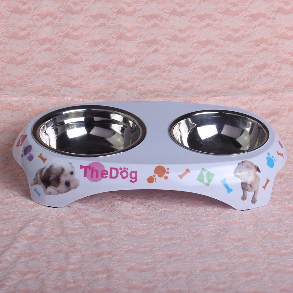 2014 hot selling free shipping stainless steel dog and cat bowl two bowls for pet(China (Mainland))