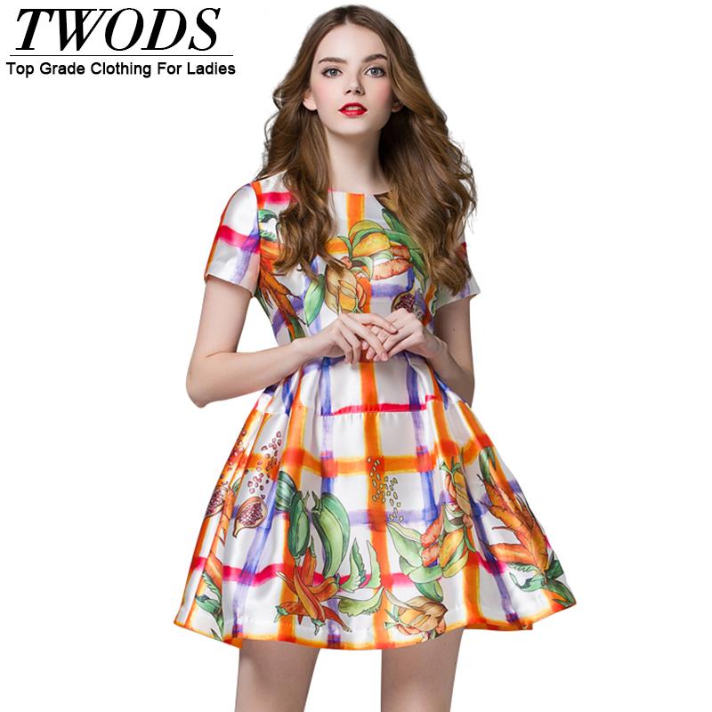 Twods Bright Color 2016 New Style Summer Dress Women Short Sleeve O-neck Mini Skater Dresses Runway Brand Robe De Soiree Courte