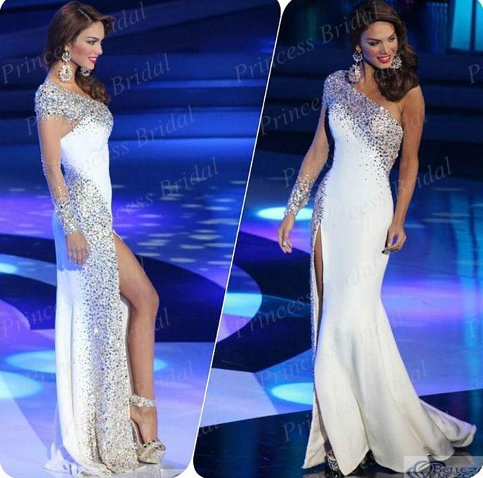 Free Shipping Lebanese Style Fashionable Mermaid One Shoulder High Side Slit Floor Length Prom Dresses Satin 2014 MF311(China (Mainland))
