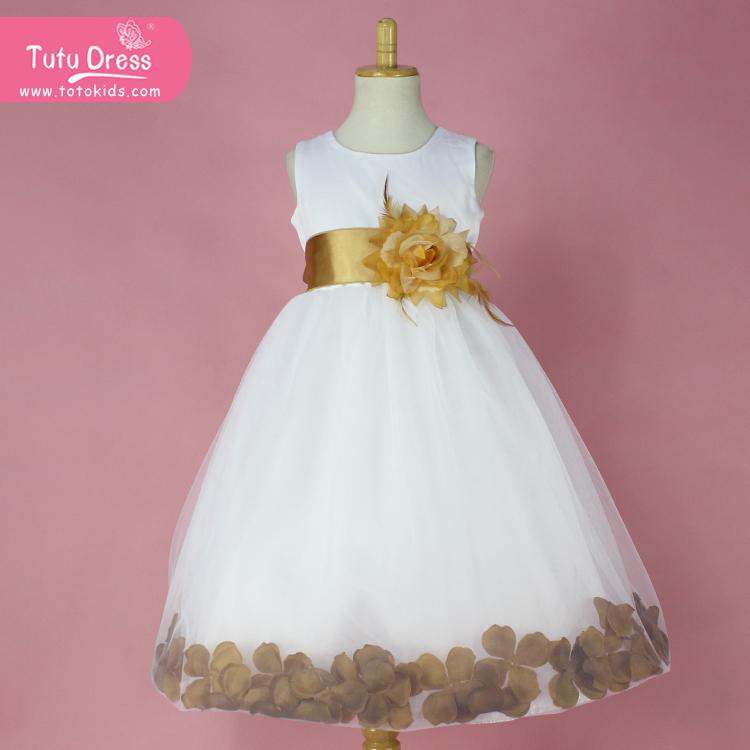 Ivory Flower Girl Petals Dress Pageant Wedding Bridal Children Bridesmaid Toddler Elegant Sizes 1-12Y(China (Mainland))