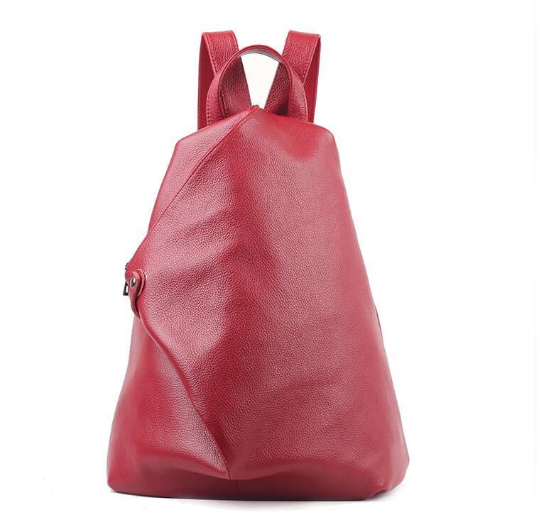 Фотография 2015 New Female Fashion Cowhide Leather Shoulder Bag Europe College Wind Backpack Schoolbag New Multi-Functional Shoulder BB067
