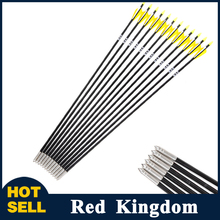 12PCS/lot Fiberglass Arrow 31inch Archery Hunter Nocks Fletched Arrows With Steel Point For 30-80lbs Recurve Bow Target Arrow(China (Mainland))