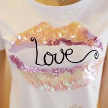 New arrival summer tops tees cotton letter print beading lips plus size XXL short sleeve o-neck t shirt women fashion tshirt(China (Mainland))