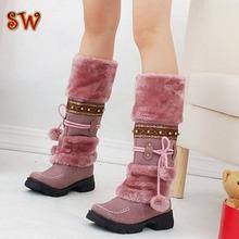 Medio de la manera Sobre Rodilla Botas de Nieve Para Las Mujeres Plataformas zapatos de cuentas Peludo Caliente Botas de Invierno envío gratis tamaño 35-40 C808(China (Mainland))