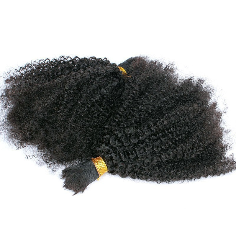 Brazilian Virgin Hair 1 Bundles 100G Kinky Curly Brazilian Bulk Hair Queen Hair Products Afro Curly Bulk Hair for Braiding