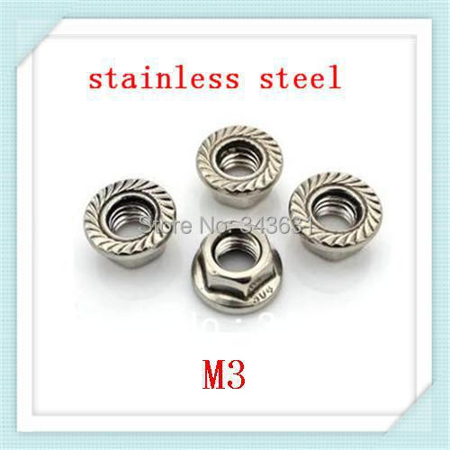Freeing Shipping  DIN6923 M3 Stainless steel  Hex Flange Nuts (200pcs/lot)<br><br>Aliexpress
