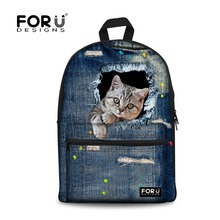 Buy Cute Animal 3D Print Cat Women Canvas Backpack Teenage Girls School Backpacks Student Casual Denim Back Packs Mochila for $23.99 in AliExpress store