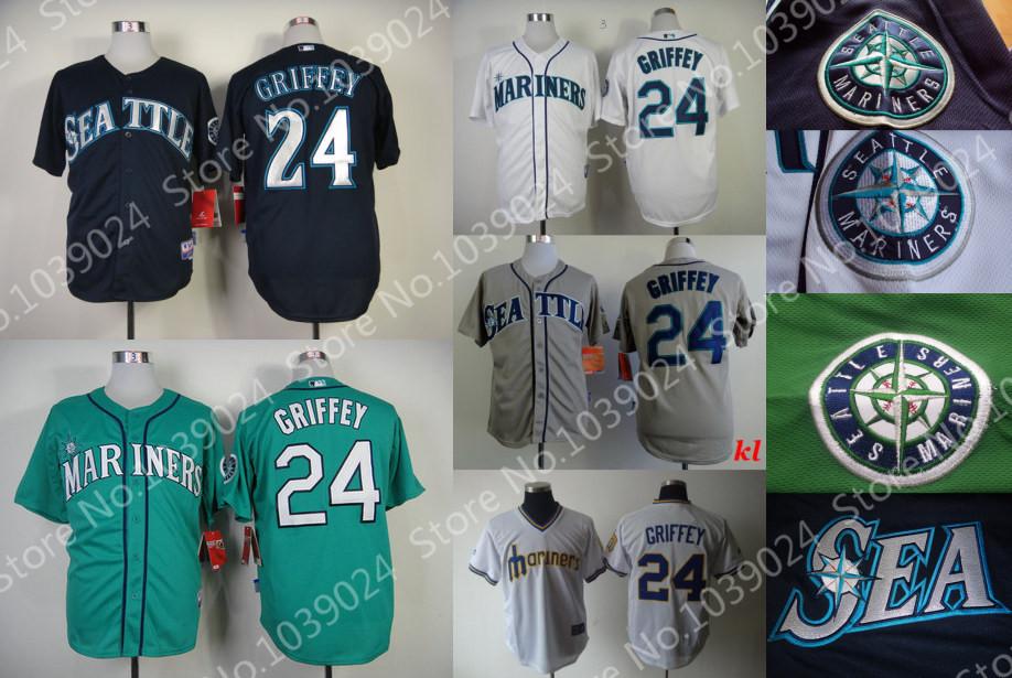 NWT New Green 24 Ken Griffey Jersey Seattle Mariners Retro White Teal Ken Griffey Jr Baseball Jersey Navy Blue Mix styles(China (Mainland))