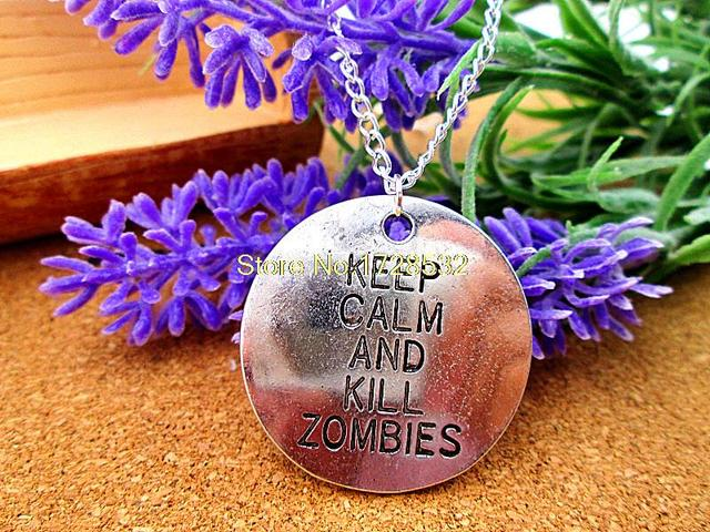 The Walking Dead Necklace with Keep Calm and Kill Zombies Antique Charms