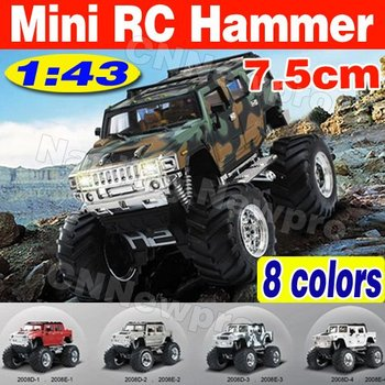 New Arrival!! 2pcs/lot 4WD 1:43 scale Mini size Radio Remote Control Big foot hammer Electric RC car toys for children
