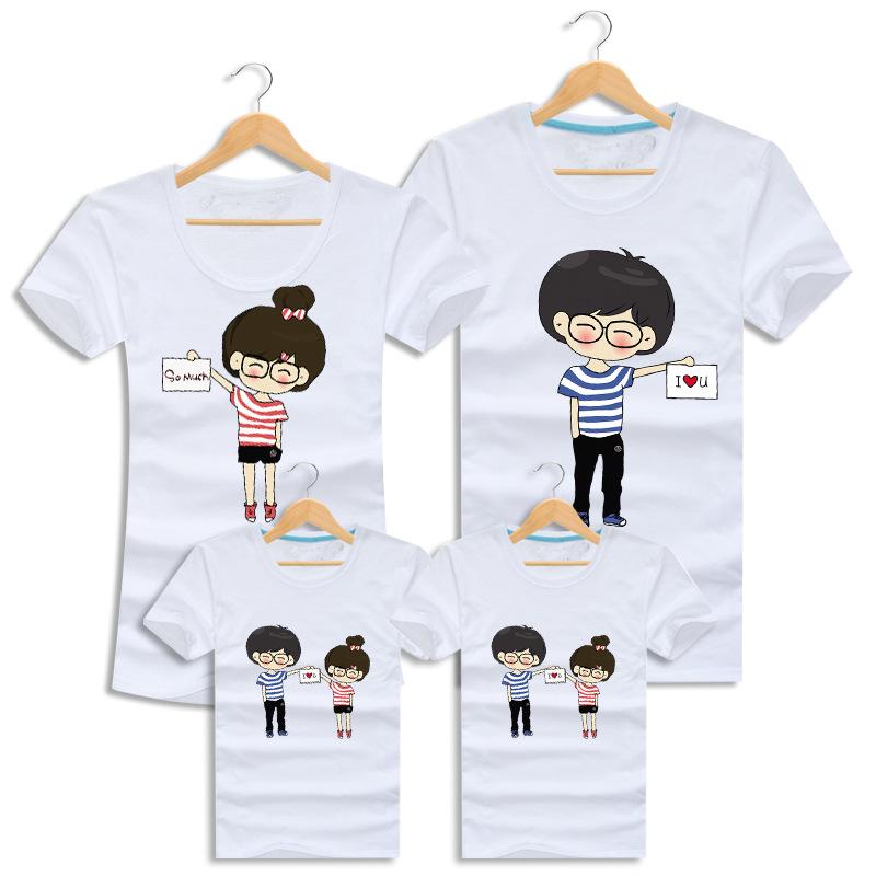I Love U Cotton T Shirts Short Sleeve Couple Camisetas Lovers Clothes font b Family b
