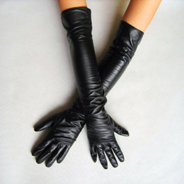 New 2015 Black Long Leather Gloves 40cm & 50cm Women's Gloves Winter Fashion Ladies Dance Leather Gloves For women(China (Mainland))