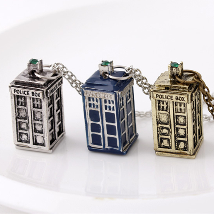 dr doctor who necklace tardis police box vintage blue silver bronze pendant jewelry for men and women wholesale(China (Mainland))