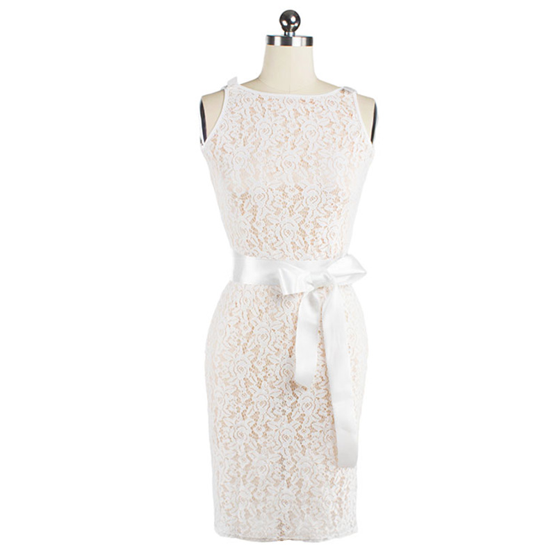 Crochet Lace Dress Hollow Out Backless Sleeveless Sexy White Woman Dress Bow Knot Zipper Perspective Dress Slim Elegant Dresses(China (Mainland))