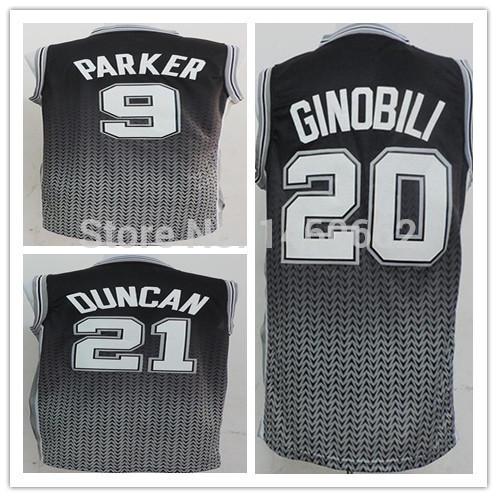 New Style 2013-2014 Drift Fashion Basketball Jersey 21 Tim Duncan 20 Manu Ginobili 9 Tony Parker Color Black Embroidery Logo(China (Mainland))