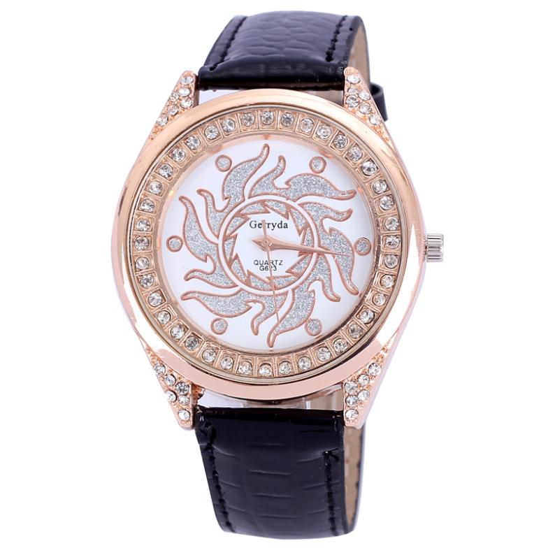 style dropship women watches leather dress quartz alloy round luxury rhinestone rose gold plated ladies new year gift - Thanks For You , honey store