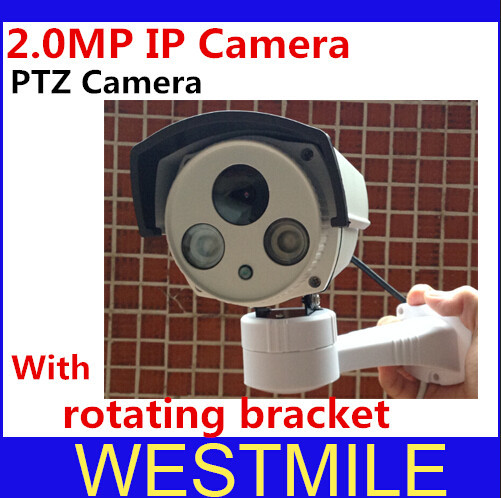 Newest 2.0 MP 3.6MM Indoor/outdoor wide angle PTZ IP Camera 1080p with p2p onvif RJ485 Rotating Bracket Free shipping(China (Mainland))