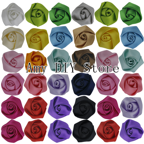 Free Shipping!200pcs/lot 2CM Stain Rolled Rosettes,Kids Boutique DIY Satin Rose Flowers For Baby Girls Wedding/Hair Accessories(China (Mainland))