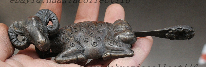Old China Fengshui Bronze Copper Wealth Lucky Sheep Goat Statue Door Locks Keys(China (Mainland))