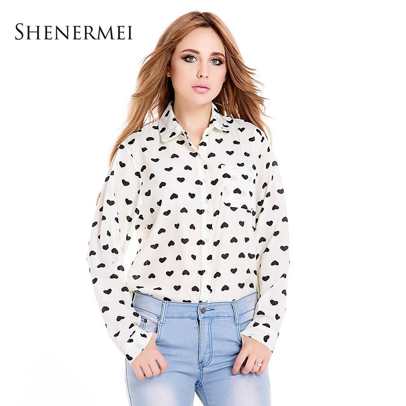 Blusas Femininas 2014 Fashion Vintage Women 39 S Shirt Chiffon Blouse Love Heart Sweet Black Women