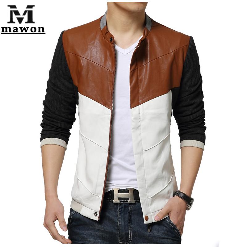 Fashion Slim Men Leather Jacket Spring Thin Patchwork Jaqueta Couro Casual Men's Coats Brand Design Motorcycle Jacket MJ185(China (Mainland))