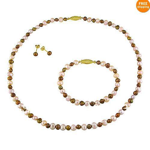 New Free Shipping Pearl Jewelry Set Goldtone Freshwater Multicolor Genuine Freshwater Pearl Necklace Bracelet Earrings Wholesale(China (Mainland))