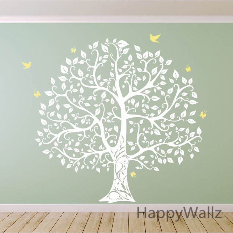 Large tree wall sticker bird tree wall decal diy for Diy family tree wall mural