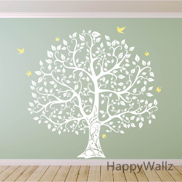 Buy large tree wall sticker bird tree wall decal diy decorating family tree - Stickers voor behang ...