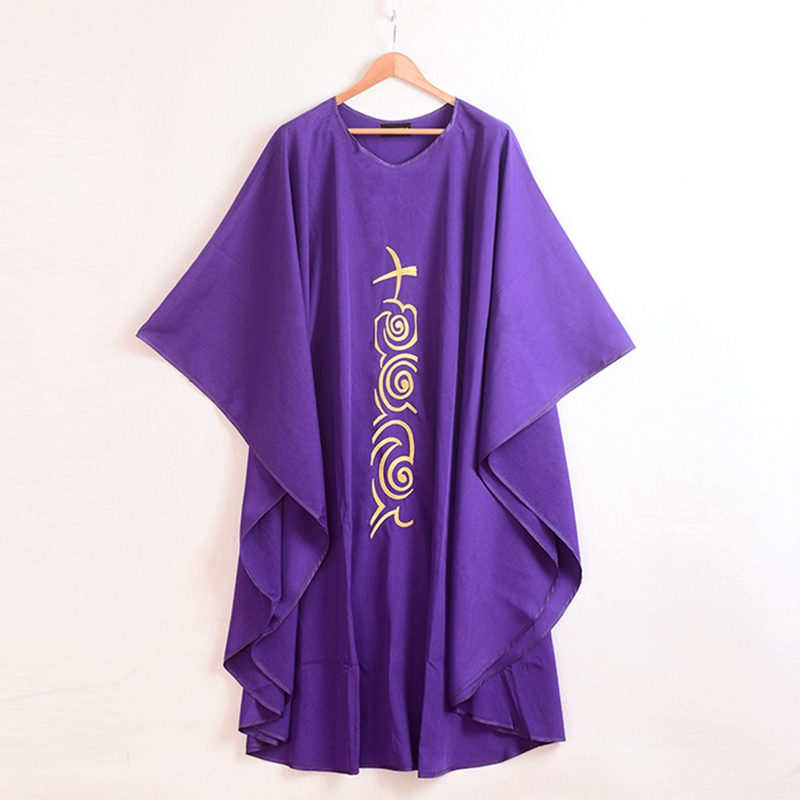 Church Purple Chasuble Cross Embroidered Priest Vestments Robe(China (Mainland))