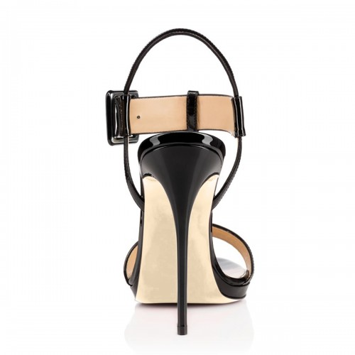 Women's High Heel Stiletto T-Strap Buckle Stylish Sandal Shoes Black Slingback Dress Sandals Sexy Woman Summer Gladiator Shoes