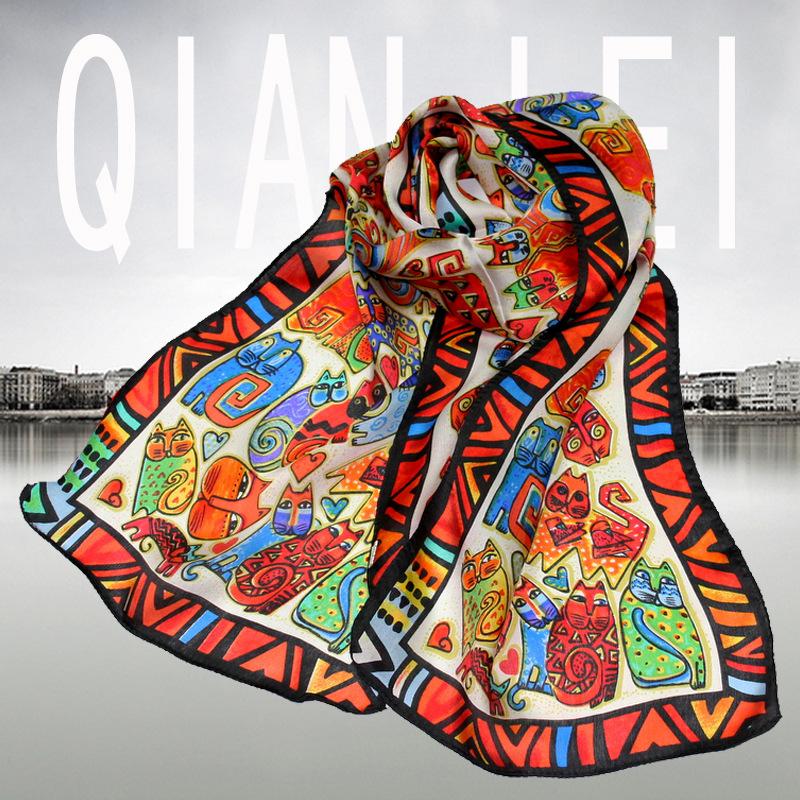 Single cat lovers white silk scarf britfilms pattern long silk sacrf Free shipping(China (Mainland))