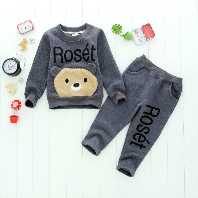 dd07874c5 2019 Set Cartoon Bear Children Boys And Girls Clothing Sets Hoodie + ...