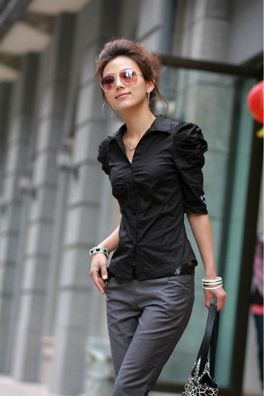 Womens Black Blouse Shirts