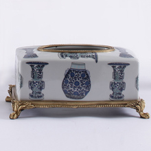 simple European design antique copper and white glazed porcelain with pattern printing on removable tissue box(China (Mainland))