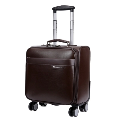 Commercial trolley luggage 18 computer case genuine leather trolley luggage male universal wheels travel bag luggage PU the box(China (Mainland))