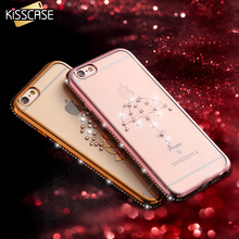 Buy KISSCASE Luxury Rhinestone Silicone Case iPhone 6 6S Plus Glitter 3D Diamond Cover Gold Pink Plating Coque Girly Fundas I6 for $2.79 in AliExpress store