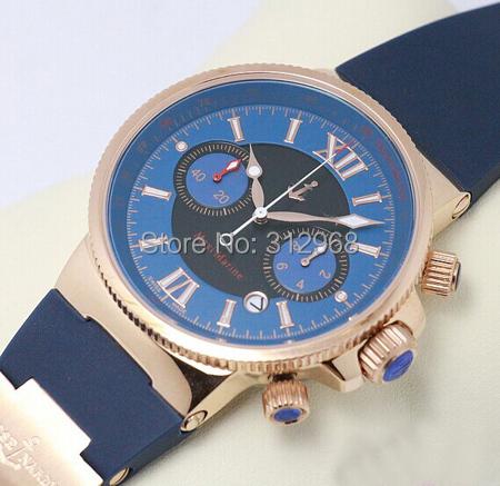 high quality maxi japan chrnograph quartz movement marine rubber band men's watch factory wholesale(China (Mainland))