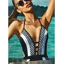 2016 Summer Swimwear Bathing Suit Sexy Hollow One Piece Swimsuit Black White Patchwork Swimming Suit Monokini S026