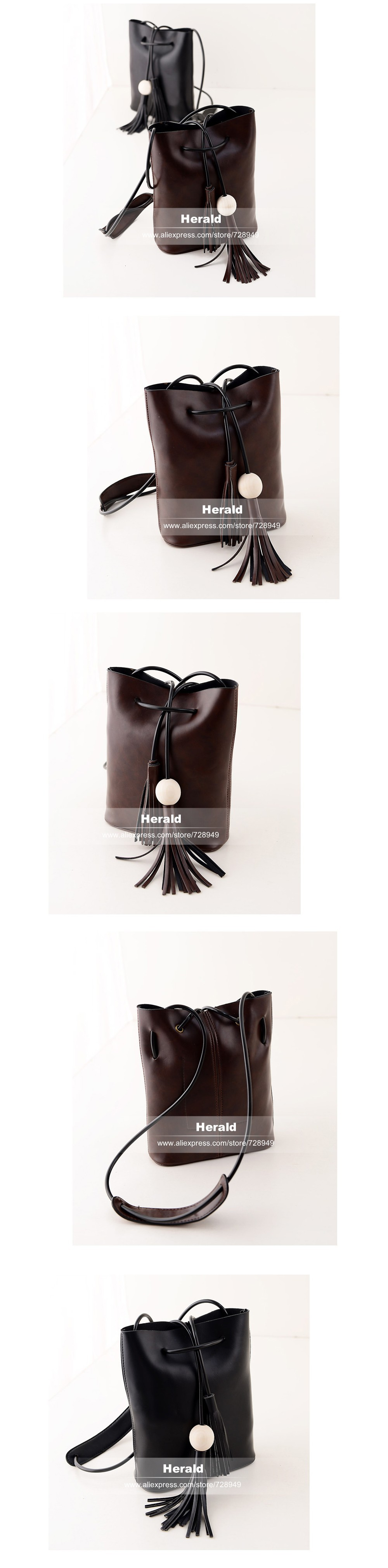 Vintage Tassel Fringe White Ball Bucket Bag For Women Female Messenger Bag Shoulder Bag String Casual Quality Leather New 2014 2