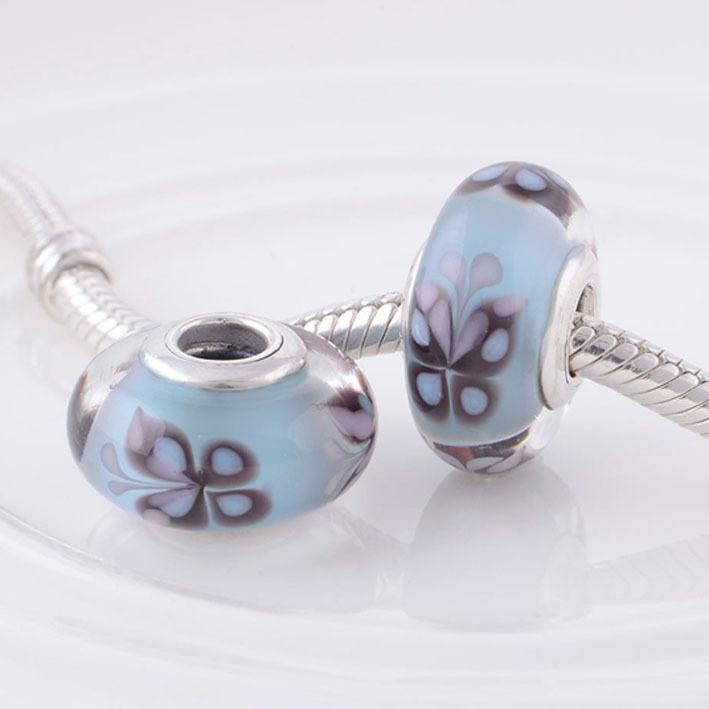 Butterfly Murano Charm Glass Bead 925 Sterling Silver Core Beads fits Pandora Charms Bracelet DIY Women Jewelry(China (Mainland))