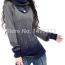 The NEW autumn and winter high-necked Cashmere Sweater women thick piles gradient knit Pullover bottoming Sweater(China (Mainland))