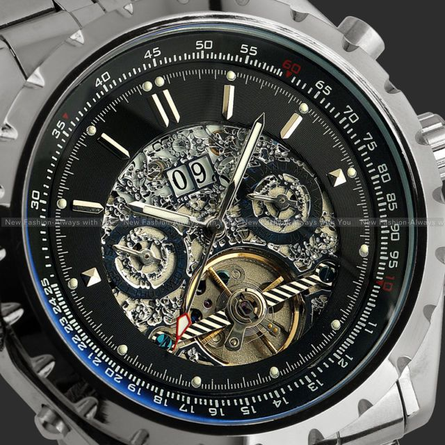 Luxury Mechanical Watches Men Week Day Stainless Steel Auto Watches+Gift Box Swiss/ Sweden Post<br><br>Aliexpress