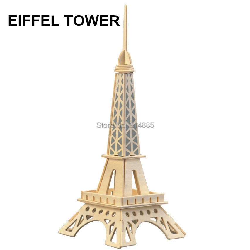 Kid Children Wooden Toy DIY 3D Wooden Puzzle Jigsaw Wood Model Building Kits Toy Eiffel Tower Model Art and Kraft Toys(China (Mainland))
